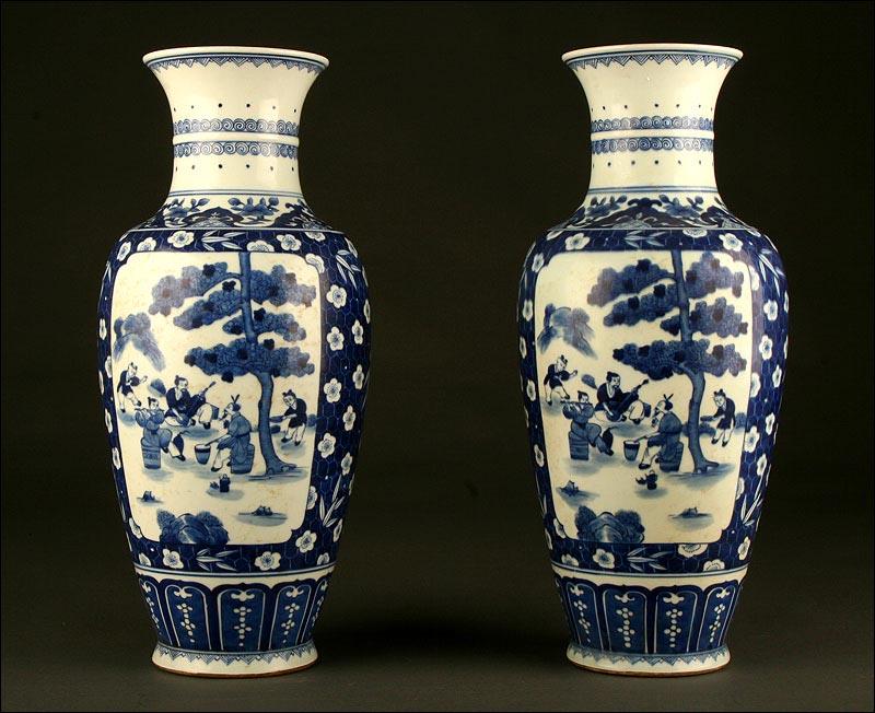 Decoracion Jarrones Chinos ~ Precioso Par de Jarrones Chinos, Porcelana Azul y Blanca S XIX