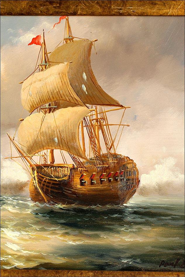 Clásico Cuadro al Óleo, Enmarcado. Batalla Naval. Escuela del Siglo XX