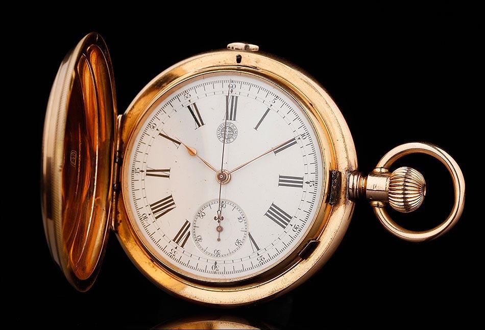 Magnífico Reloj De Bolsillo Cronómetro Suizo De Oro Macizo De 18 K